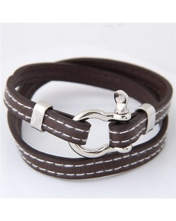 Belt Fashion Dual Layers Costume Bracelet - Brown