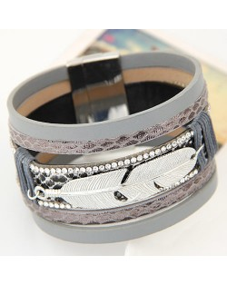 Alloy Feather Decorated Multiple Elements Wide Magnetic Lock Fashion Bangle - Gray
