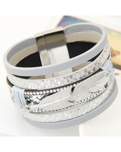 Alloy Feather Decorated Multiple Elements Wide Magnetic Lock Fashion Bangle - White