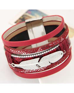 Alloy Feather Decorated Multiple Elements Wide Magnetic Lock Fashion Bangle - Red