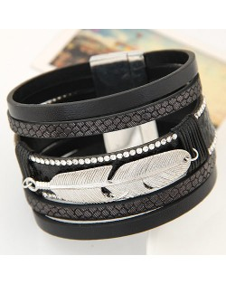 Alloy Feather Decorated Multiple Elements Wide Magnetic Lock Fashion Bangle - Black