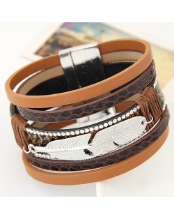 Alloy Feather Decorated Multiple Elements Wide Magnetic Lock Fashion Bangle - Brown