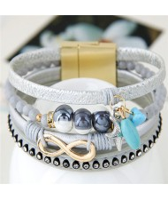 Infinity Sign and Rhinestone Decorated Multiple Fashion Elements Four Layers Leather Bangle - Silver