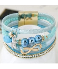Infinity Sign and Rhinestone Decorated Multiple Fashion Elements Four Layers Leather Bangle - Blue