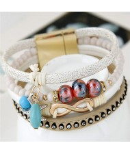 Infinity Sign and Rhinestone Decorated Multiple Fashion Elements Four Layers Leather Bangle - White