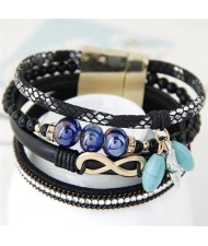 Infinity Sign and Rhinestone Decorated Multiple Fashion Elements Four Layers Leather Bangle - Black