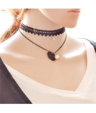 Lace Snow Flake and Pearl Pendant Dual Layers Choker Necklace