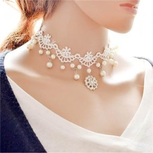 Snow Flake and Pearl Beads Embellished White Hollow Lace Choker Necklace
