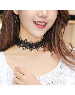 Korean Fashion Hollow-out Floral Lace Choker Necklace and Bracelet Set