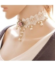 Pink Rose and Floral Pendant Attached Pearl Fashion White Hollow Lace Choker Necklace