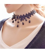 Waterdrops and Gem Pendant Decorated Floral Pattern Lace Choker Necklace