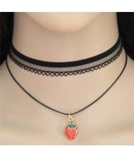 Strawberry Pendant Fashion Black Lace Choker Necklace