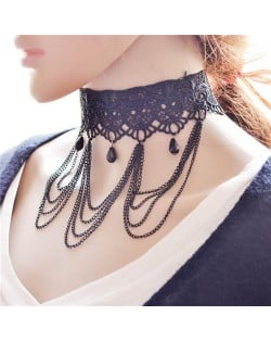 Triple Chains Tassel Beads Decoration Design Hollow-out Wide Lace Choker Necklace