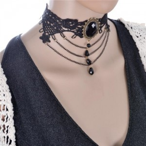 Court Fashion Gem Embellished with Waterdrops Beads and Triple Chain Tassel Floral Lace Choker Necklace