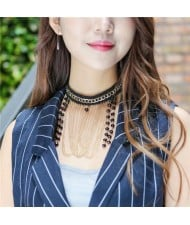 Beads Cluster with Chain Tassel and Bulk Chain Attached High Fashion Lace Choker Necklace
