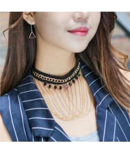 Multi-layers Chain Tassel with Beads and Bold Chain Decorated High Fashion Lace Choker Necklace