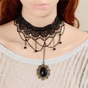 Vintage Gem Pendant Chain Tassel Pineapple Lace Choker Necklace
