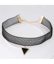 Hollow Out Design Triangle Pendant Fashion Lace Choker Necklace