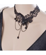 Rose and Flying Butterfly Vine Pattern Lace Choker Necklace