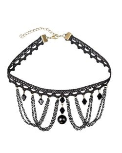 Flower and Triangle Combo Pendant Tassel Chain Lace Choker Necklace