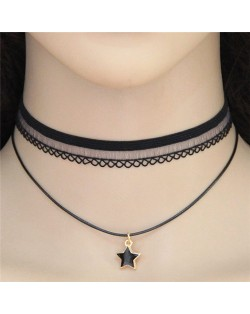 Lucky Star Pendant Dual Layers Lace Choker Necklace