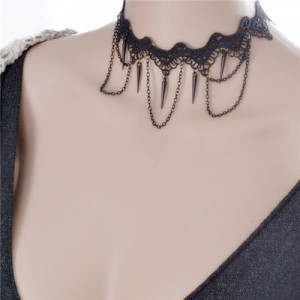 Rivets and Tassel Chain Design Black Lace Choker Necklace