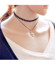 Studs Decorated Crucifix Fashion Dual Layers Choker Necklace