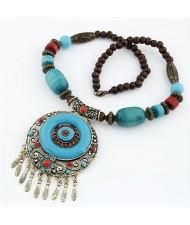 Bohemian Fashion Resin Gem Round Hollow Pendant Vintage Folk Style Statement Necklace