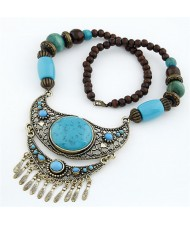 Resin Gem Inlaid Hollow Arch Pendant Beads Chain Bohemian Fashion Necklace