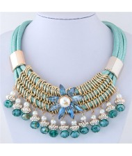 Glass Flower Embellished Alloy Wire Attached Pearl and Beads Tassel Triple Layers Statement Necklace - Teal