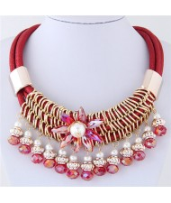 Glass Flower Embellished Alloy Wire Attached Pearl and Beads Tassel Triple Layers Statement Necklace - Red