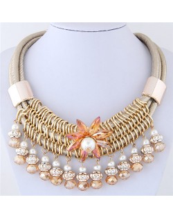 Glass Flower Embellished Alloy Wire Attached Pearl and Beads Tassel Triple Layers Statement Necklace - Champagne