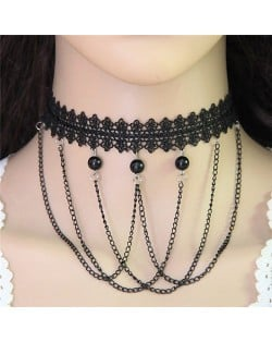 Beads and Tassel Combo Street Fashion Black Lace Choker Necklace