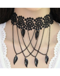 Leaves and Chain Tassel Combo Hollow-out Flower Fashion Lace Necklace