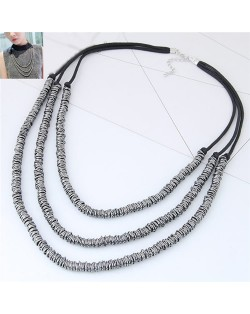 Wire Twined High Fashion Triple Layers Costume Necklace - Gun Black