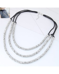 Wire Twined High Fashion Triple Layers Costume Necklace - Silver