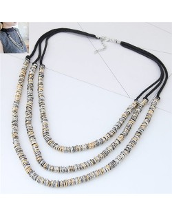 Wire Twined High Fashion Triple Layers Costume Necklace - Mixed Color
