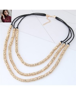 Wire Twined High Fashion Triple Layers Costume Necklace - Golden
