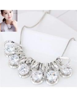 Elegant Queen Fashion Cubic Zirconia Inlaid Dimensional Design Statement Necklace - Silver