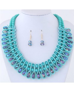 Crystal and Beads Silk Ribbon Weaving Pattern Elegant Fashion Costume Necklace and Earrings Set - Teal Blue