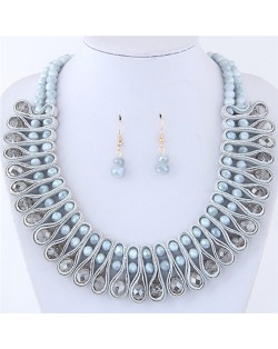 Crystal and Beads Silk Ribbon Weaving Pattern Elegant Fashion Costume Necklace and Earrings Set - Gray