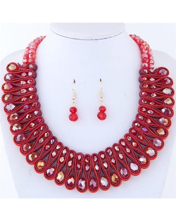 Crystal and Beads Silk Ribbon Weaving Pattern Elegant Fashion Costume Necklace and Earrings Set - Red