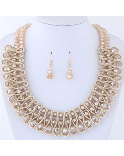 Crystal and Beads Silk Ribbon Weaving Pattern Elegant Fashion Costume Necklace and Earrings Set - Champagne