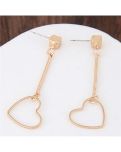 Unique Golden Alloy Dangling Hearts Fashion Earrings