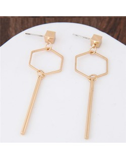 Dangling Key Shape Golden Alloy Fashion Stud Earrings