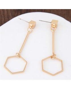 Unique Dangling Hexagon Golden Alloy Fashion Earrings