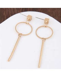 Dangling Ring and Stick Combo Golden Alloy Fashion Earrings