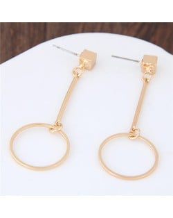 Dangling Hoop Golden Alloy Stud Earrings