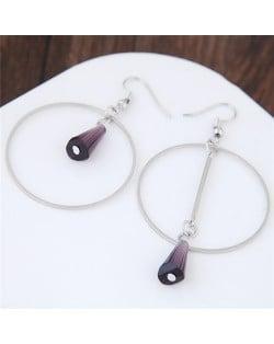 Crystal Waterdrop Decorated Hoop Fashion Asymmetric Earrings - Purple