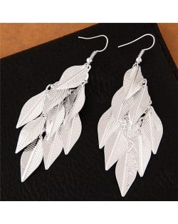 High Fashion Leaves Dangling Alloy Fashion Earrings - Silver